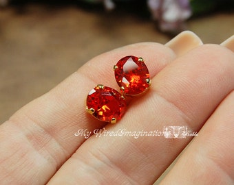 Padparadschah Orange CZ 10x8mm Faceted Oval Gemstone Your Choice Silver or Gold Plated Sew On Setting Jewelry Supply