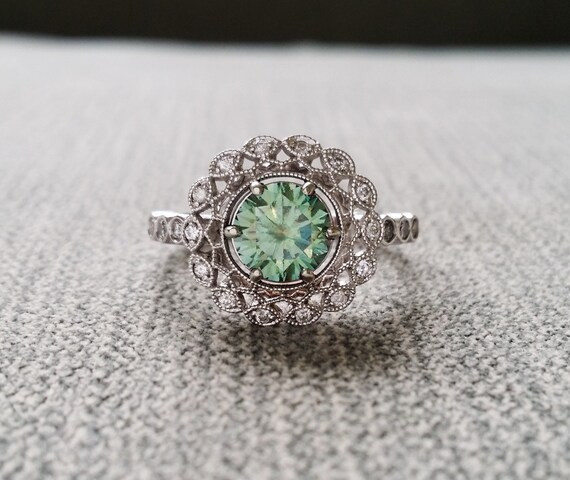 Items Similar To Halo Blue Green Moissanite Diamond