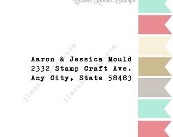 0222 JLMould Typewriter Funky Custom Rubber Address Rubber Stamp Vintage Wedding Invitation