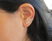 Music earrings, ear cuff jewelry, ear cuff pierced earrings, treble clef earrings, music note earrings
