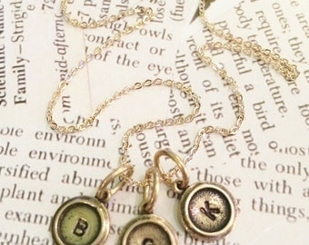 Tiny Hand Stamped Initials for Personalized Necklace / Tiny Initial Vintage Style Family Necklace / Mothers Necklace / Grandmothers Necklace