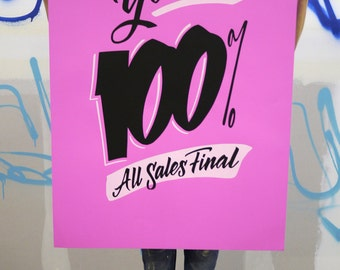 """I'm Yours 100% 26""""x40"""" purple screen printed poster"""