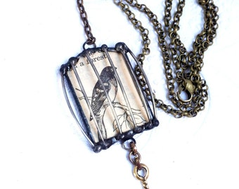 Birdcage Necklace, Soldered Glass Bird Cage, Birdcage Shadowbox Pendant, Vintage Dictionary Illustration Pendant, Caged Bird Jewelry