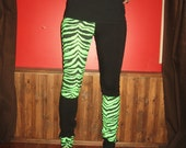 Neon Green Zebra Patchwork Punk Leggings Xsmall Small By Vicmes Clothing