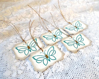 Celtic Knot Butterfly Tags, Perfect for a Irish Celtic Wedding or Baby Shower or St. Patrick's Day, Party Favor Tags in Dark Green Gold Cord