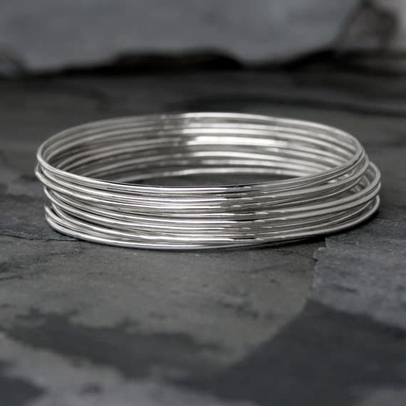 12 Skinny Sterling Silver Bangles, Set of Twelve Stacking Bracelet, Smooth Shiny Finish, Stack, Stackable, Dozen Sterling Silver Bangles