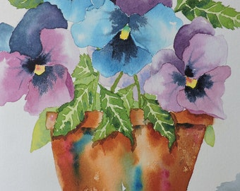 Floral Art, Fine Art-Floral-Watercolor Painting of a Terra Cotta Pot Filled with Pansies