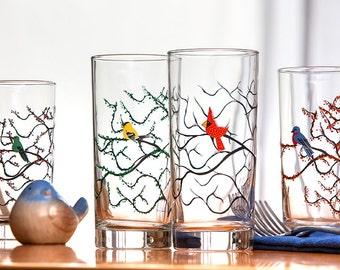 The Four Seasons Bird Glasses - 4 Everyday Water Glasses, The Four Seasons, Bird Glasses, Cardinal, Bluebird, Finch, Hummingbird Glass