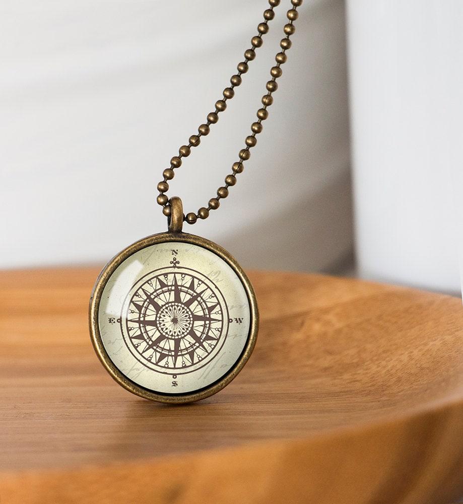 Compass Pendant Vintage Compass Necklace Glass Dome Pendant