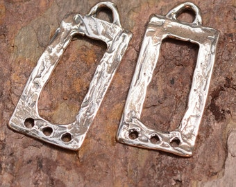 Rustic Rectangle Earring Dangles with 3 Holes in Sterling Silver E-257