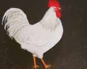 Pretty Boy - Large Original Rooster Portrait on 20 x 16 Canvas, Chicken Folk Art, Colonial Chicken, Country Art by Fran Caldwell