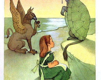 Alice and the Turtle - Alice In Wonderland - Lewis Carroll Marjorie Torrey Illustration - 1955 Vintage Book Page - 9 x 7