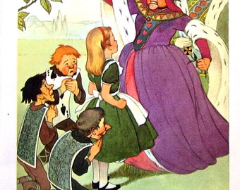 1955 Alice In Wonderland - Lewis Carroll - Marjorie Torrey Illustration Book Page - Alice and the Angry Queen