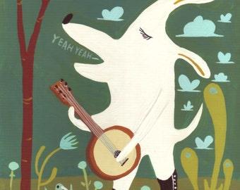 White Dog Playing Banjo Art Print - Whimsical Americana Folk Bluegrass Music Decor Artwork - White Yellow Lab Samoyed Pitbull