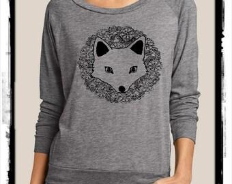 FOX Heathered Slouchy Pullover long sleeve Girls Ladies shirt screenprint Alternative Apparel
