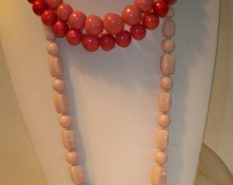 3 Pink Necklaces Vintage Beads in Different Lengths and Shades of Pink