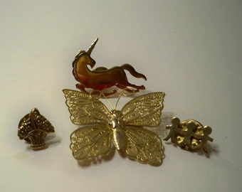 Vintage Pins & Brooches, Collectible Gold Pins and Brooches, Butterfly Brooch, Unicorn Pin, Flower Basket Pin, 3 Children Pin, Tie Tacks