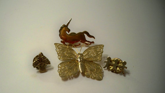 Butterfly, Unicorn, Flower Basket, & Children Whimsical Collection of Vintage Gold Brooches and Pins