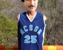 vintage 80s basketball jersey NCSSM high school 25 blue white stripe 70s Large Medium