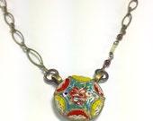 Micro Mosaic Garnet Necklace