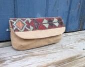 tan brown wristlet clutch bag