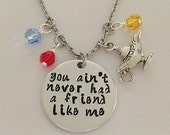 """Disney inspired Aladdin necklace """"you ain't never had a friend like me"""" Genie hand stamped Disney Jewelry charm necklace"""