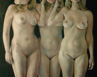"No Evil 48x36"" original oil figurative nude portrait figure painting by Kimberly Dow"