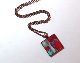 Red Pendant Necklace, FREE Shipping, Original Painting - Wearable Art - Handpainted Pendant Necklace, Art, Abstract Painting