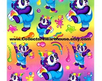 Lisa Frank Panda Painter Sticker Sheet S271 bear artist