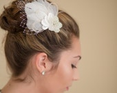 CLEARANCE SALE Wedding Fascinator Ivory  and  Champagne Feathers with  French Veiling