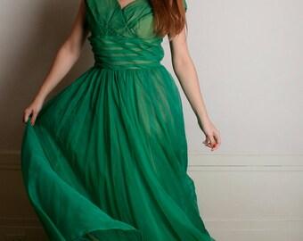 Vintage 1950s Prom Dress - Deep Emerald Green Formal Bridal Wedding Dress - Large