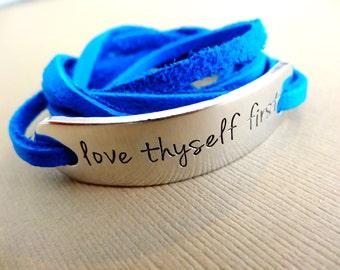 Love Thyself First Bracelet - Wrap Bracelet - Personalized Bracelet