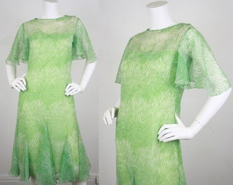 30% SALE - Travilla 1970's Vintage 1930's Style Green Leaf Print Chiffon Flutter Sleeve Dress