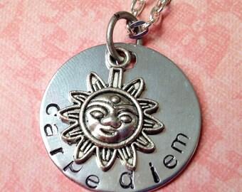 Hand Stamped Carpe Diem Necklace
