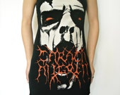 Carach Angren shirt dress black Metal Clothing Lace up alternative apparel reconstructed altered band tee t-shirt rocker chic clothes