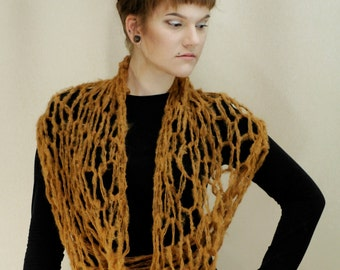 Brown loop scarf, bulky chunky scarf, brown scarf,  loop infinity scarf shawl shrug handknit. All sizes warm winter steampunk fashion MASQ