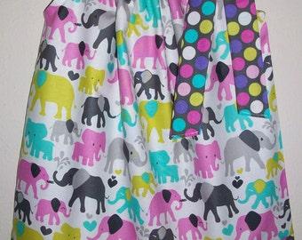 Pillowcase Dress Girls Dress with Elephants Michael Miller Circus Dress Jungle Party Zoo Party Dress Safari baby dress toddler dress