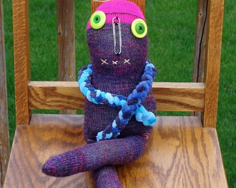 Creepy Weird Strange Sock Monster Doll , handmade sock doll named Bonnie