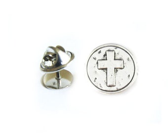 Antiqued Silver Cross Tie Tack Pin, Silver Lapel Pin, Gift for Groom Men Father Dad Groomsman Jewelry