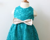 Flower Girl Dress, Teal Turquoise Lace