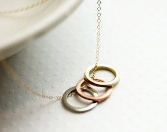 Three Circle Necklace ,Mixed Metal Colored Ring Necklace ,Three Sisters Necklace, Copper, Silver and Gold