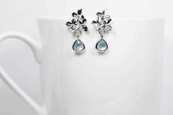 Silver Flower Earrings Aqua Earrings Silver Stud Dangles March Birthstone Earrings