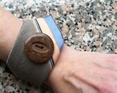 Necktie Wrist Cuff - chocolate brown and sky blue with vintage button