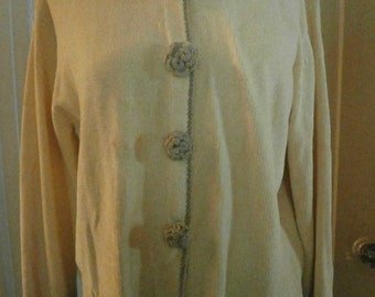 Vintage Chenille Cardigan Sweater Creme Off-White Crocheted Chenille Collar The White House Size M