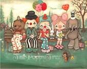 Clown Print Clowns on A Bench Art, Elephant, Bear Clown Hedgehog Critter Travelling Clowns Print