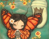 Butterfly Print Cocoon Tree Blossom Monarch Girl Childrens Art Wings Changing Wall Art---Ready to Fly