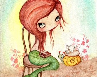 Mermaid Print Nautical Reading Girl Snail Coral Children Wall Art---Time For Tea Print