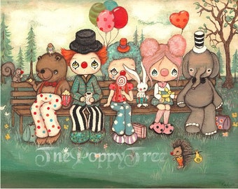 Clown Print Clowns on A Bench Art, Elephant, Bear Clown Hedgehog Critter Travelling Clowns Print