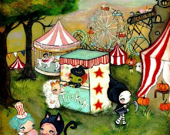 Carnival Print Carousel Art  Haunted House Ferris Wheel Candy Corn Clown Witch Wall Art---Halloween Carnival
