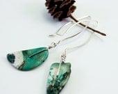 Green Stone Long Earrings, OOAK